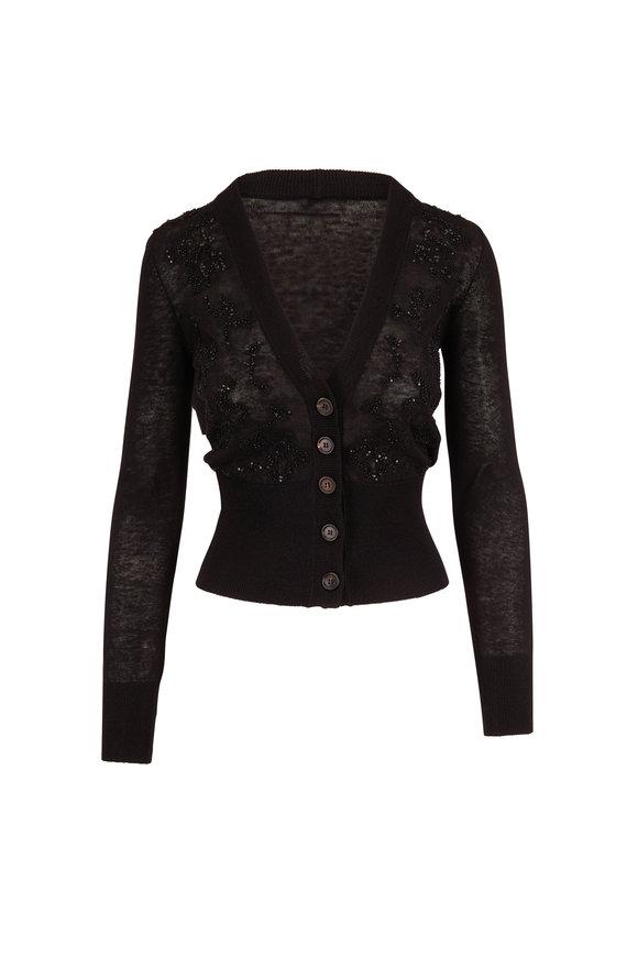 Brunello Cucinelli Black Stretch Linen Embroidered Cardigan