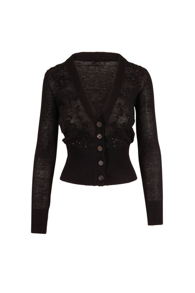 Brunello Cucinelli - Black Stretch Linen Embroidered Cardigan