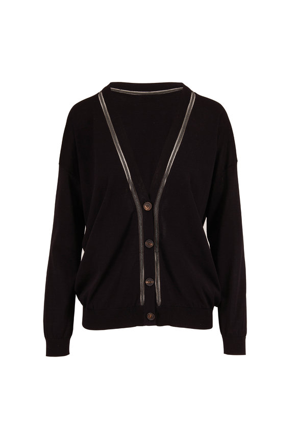 Brunello Cucinelli Black Cotton Monili & Tulle V-Neck Button Cardigan