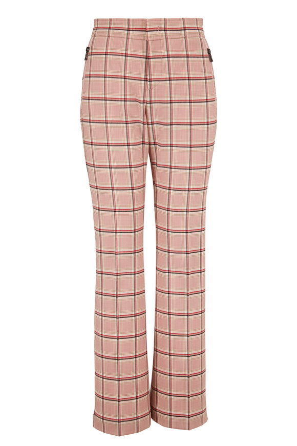 Bogner Ariana Blush Check Print Zip Cuff Pant