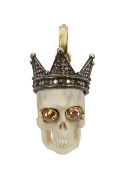 Sylva & Cie - Gold & Silver Rough & White Diamond Skull Pendant