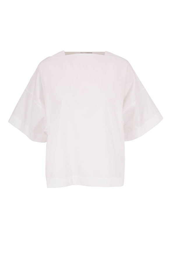 Rosetta Getty White Poplin Boxy Short Sleeve Blouse