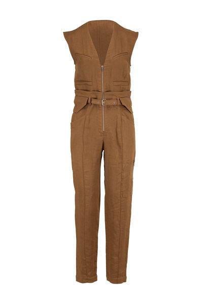 IRO - Gus Khaki Linen Cap Sleeve Jumpsuit
