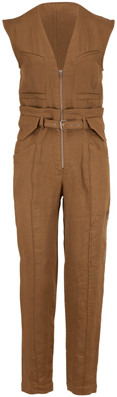 IRO Gus Khaki Linen Cap Sleeve Jumpsuit