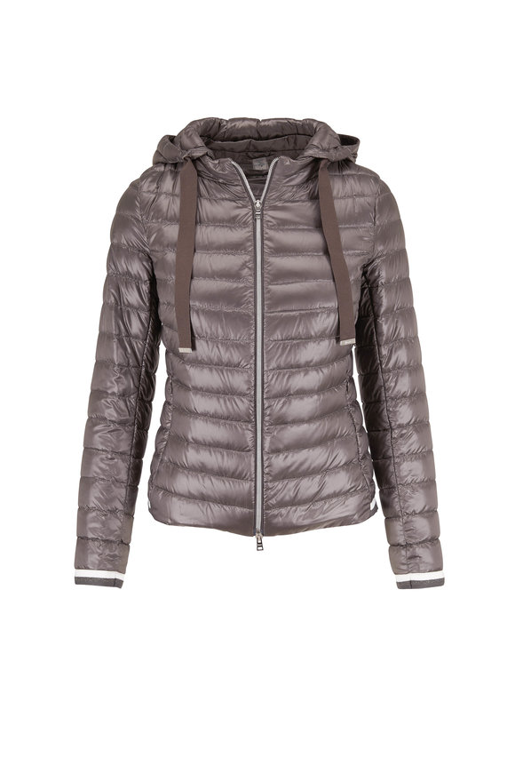 Herno Charcoal Gray Hooded Puffer Jacket