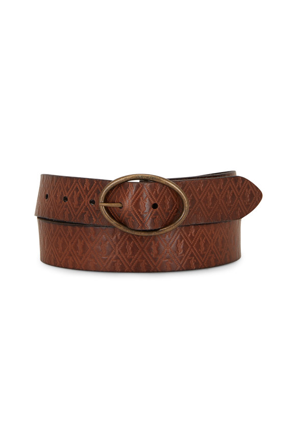 Saint Laurent Dark Brown Monogram Embossed Leather Belt
