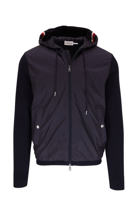 Moncler Navy Blue Mixed Media Hooded Jacket