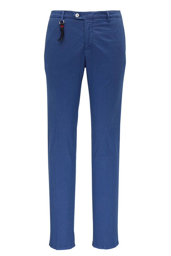 Marco Pescarolo Medium Blue Cotton & Silk Slim Fit Pant