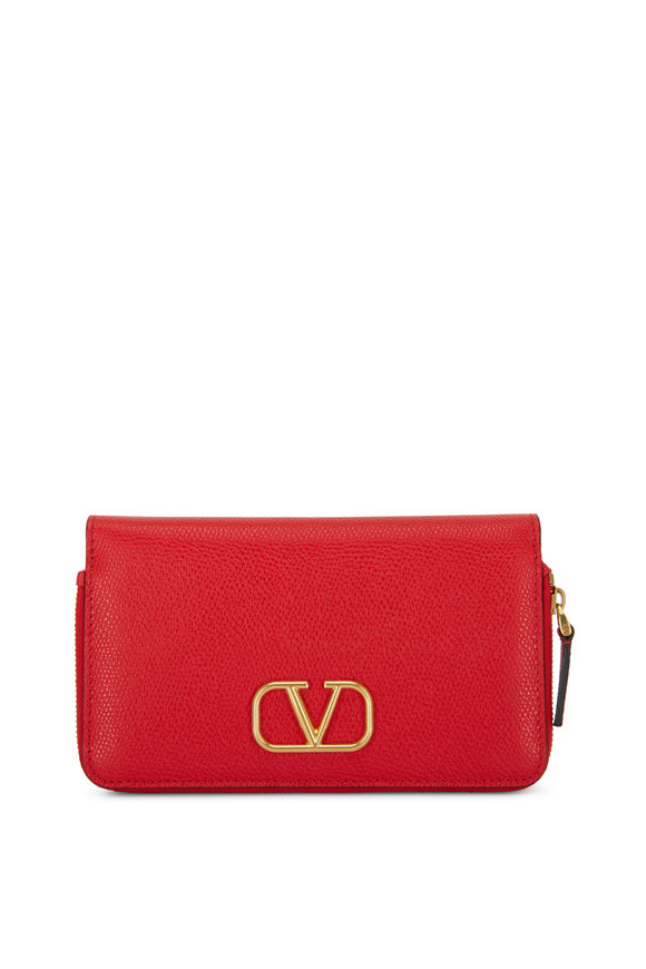 Valentino Garavani V-Logo Red Grained Leather Smartphone Wallet