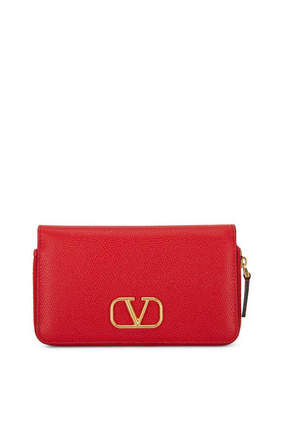 Valentino Garavani V-Logo Red Grained Leather Smartphone Wallet