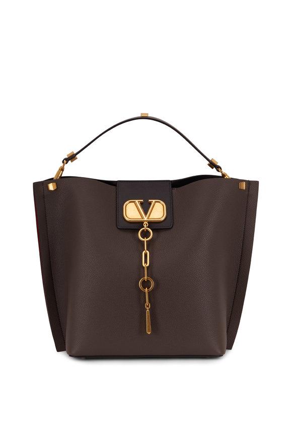 Valentino Garavani V-Logo Dark Gray Grained Leather Medium Hobo Bag