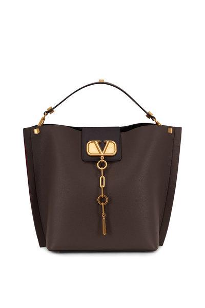 Valentino Garavani - V-Logo Dark Gray Grained Leather Medium Hobo Bag