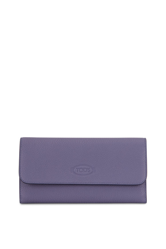 Tod's City Organizer Light Blue Grained Leather Wallet