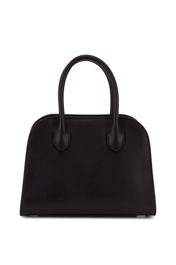 The Row Margaux 705 Black Leather Mini Top Handle Bag