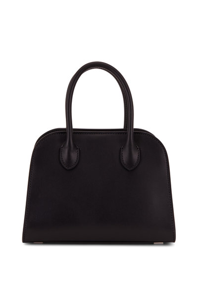 The Row - Margaux 705 Black Leather Mini Top Handle Bag