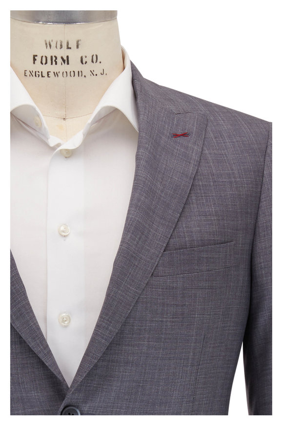 Samuelsohn Madison Heather Gray Wool & Silk Suit