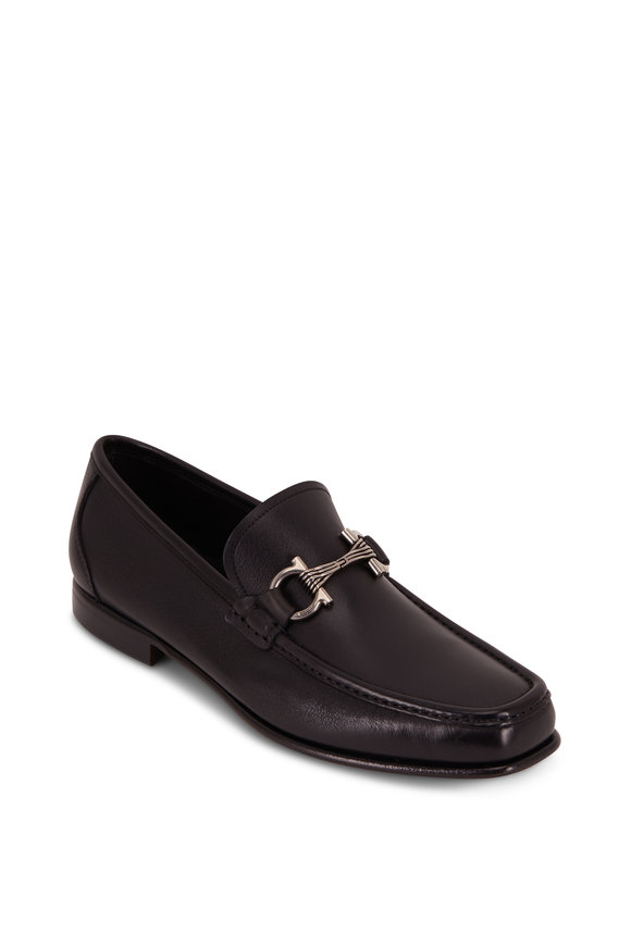 Salvatore Ferragamo Swan Black Leather Gancini Bit Loafer