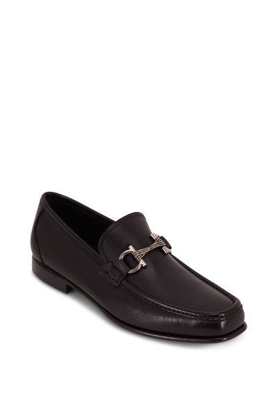Salvatore Ferragamo - Swan Black Leather Gancini Bit Loafer