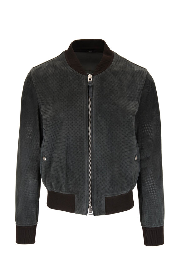 Tom Ford Green Suede Perforated Bomber