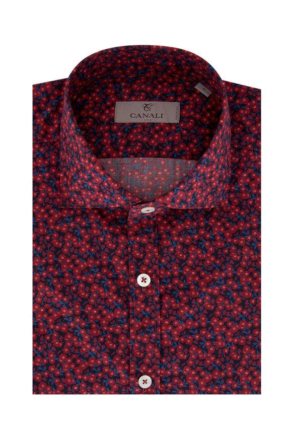 Canali Multi Floral Print Sport Shirt