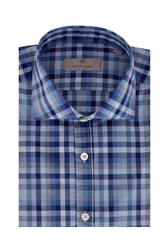 Canali Multi Blue Gingham Sport Shirt