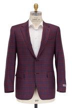 Canali - Wine & Navy Plaid Wool Sportcoat