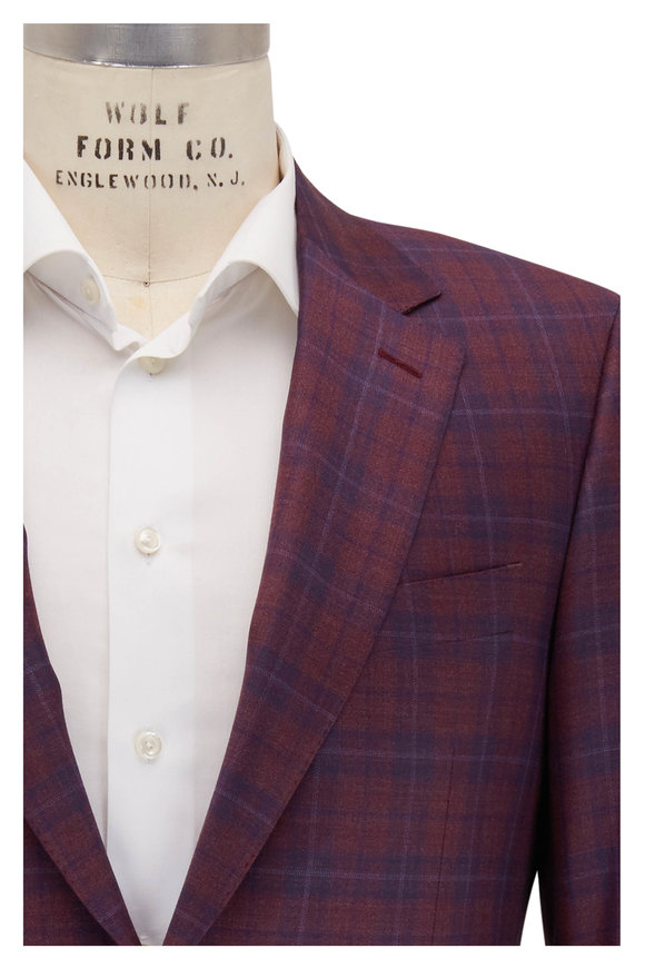 Canali Wine & Navy Plaid Wool Sportcoat