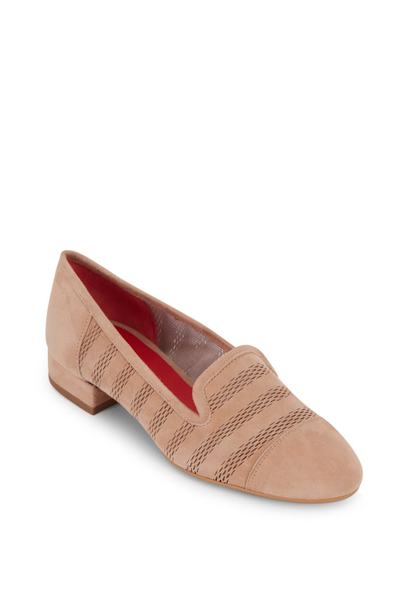 Pas de Rouge Daria Beige Suede Mesh Striped Cap-Toe Loafer