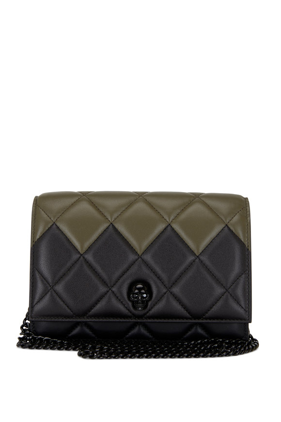Alexander McQueen Black & Olive Quilted Leather Skull Small Bag