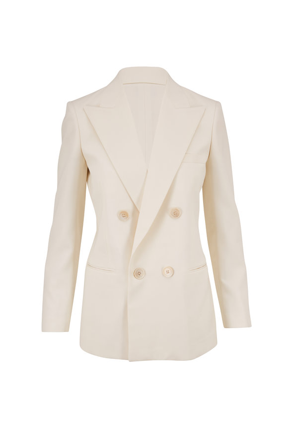 Saint Laurent Off-White Wool Double-Breasted Peak Lapel Blazer