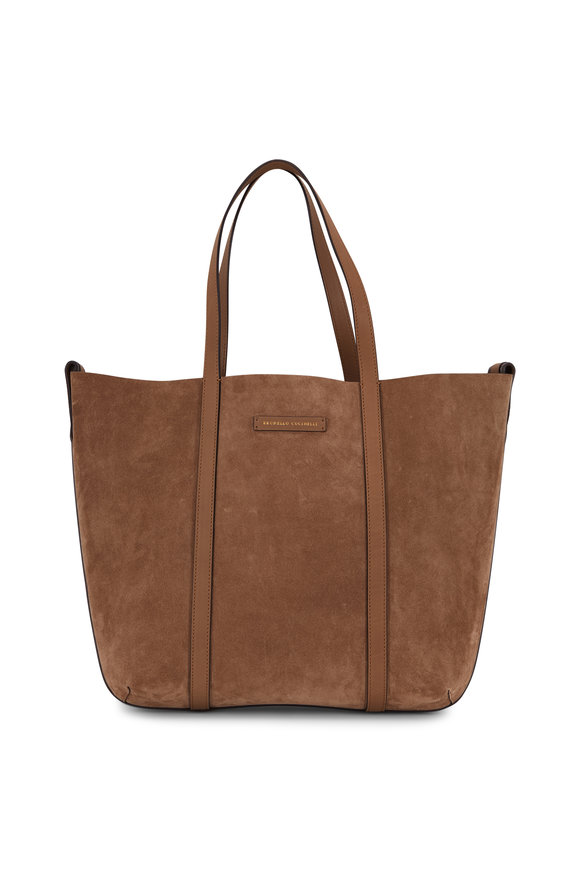 Brunello Cucinelli Brown Suede & Leather Monili Reversible Shopper