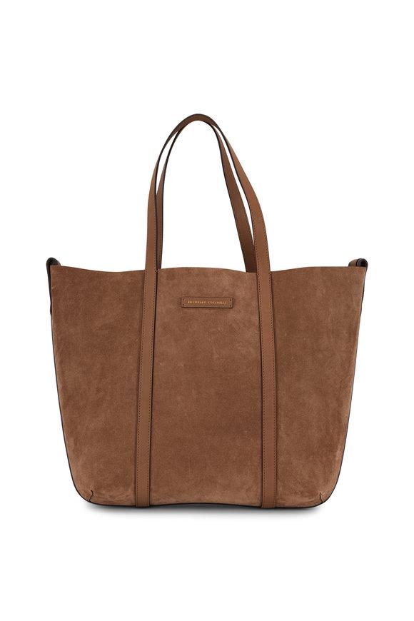 Brunello Cucinelli Brown Suede & Leather Monili Reversible Shopper