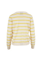 Jumper 1234 - Cream & Marigold Stripe Cashmere V-Neck Sweater