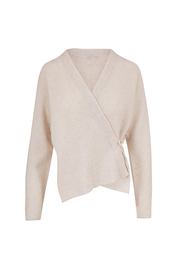 Vince Heather White Wool & Cashmere Wrap Cardigan