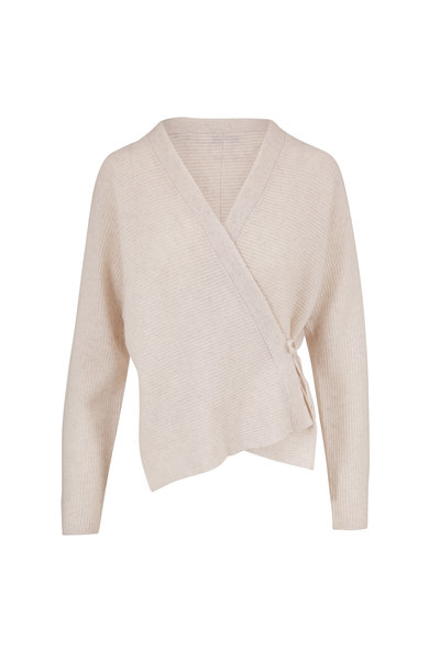 Vince - Heather White Wool & Cashmere Wrap Cardigan