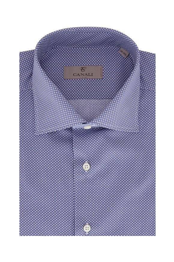 Canali  Navy Blue & White Geometric Print Dress Shirt