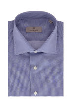 Canali -  Navy Blue & White Geometric Print Dress Shirt