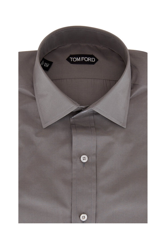 Tom Ford Silver Cotton & Silk Dress Shirt