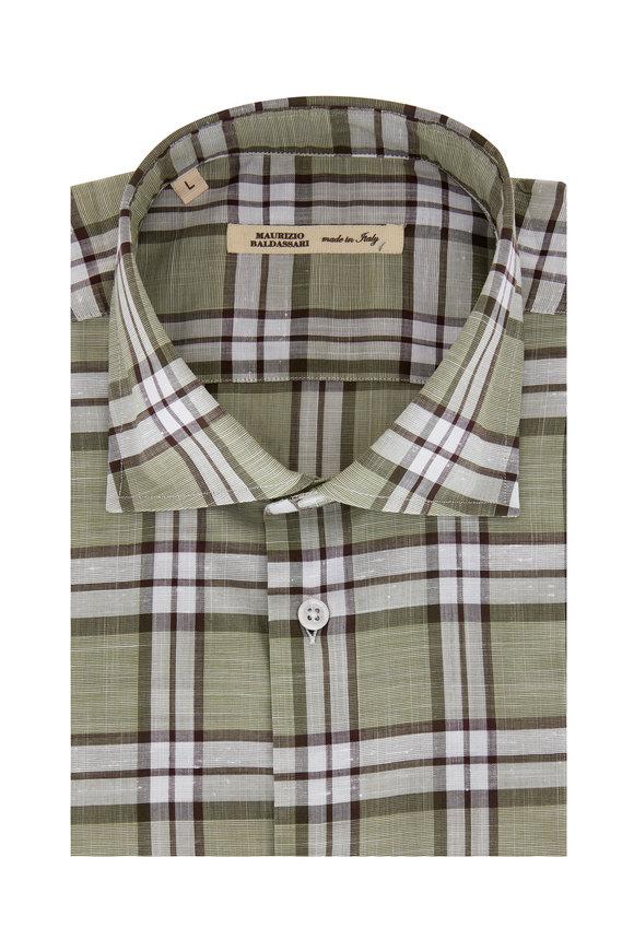 Maurizio Baldassari Green & Ivory Plaid Sport Shirt