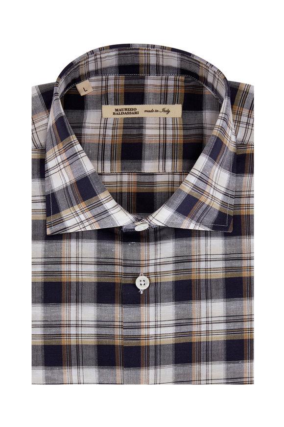 Maurizio Baldassari Multi Plaid Linen & Cotton Plaid Sport Shirt