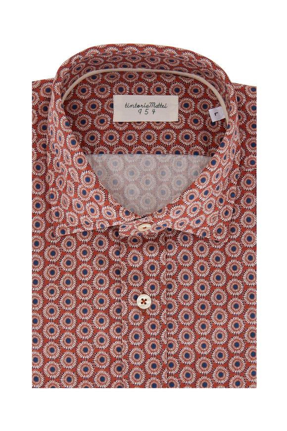 Tintoria Rust & Blue Floral Contemporary Fit Sport Shirt
