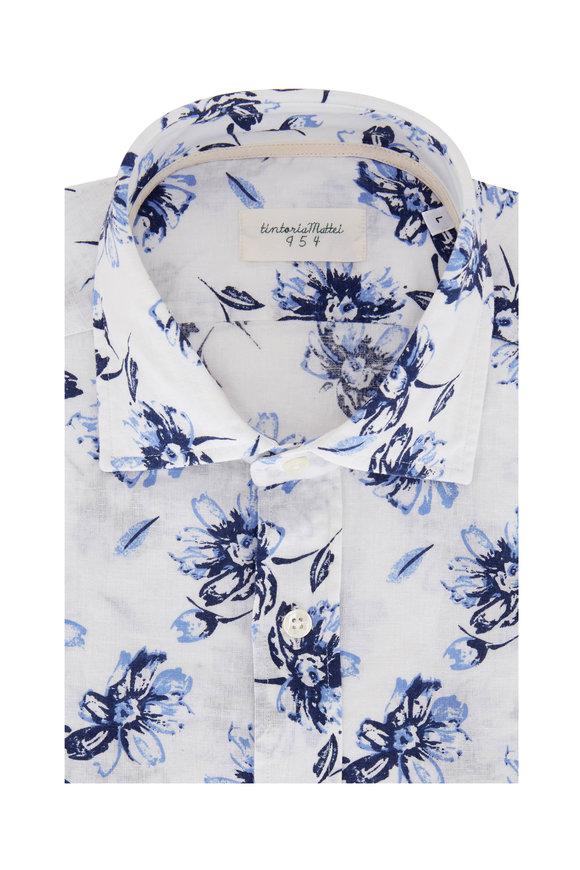 Tintoria Blue Floral Linen Blend Contemporary Sport Shirt