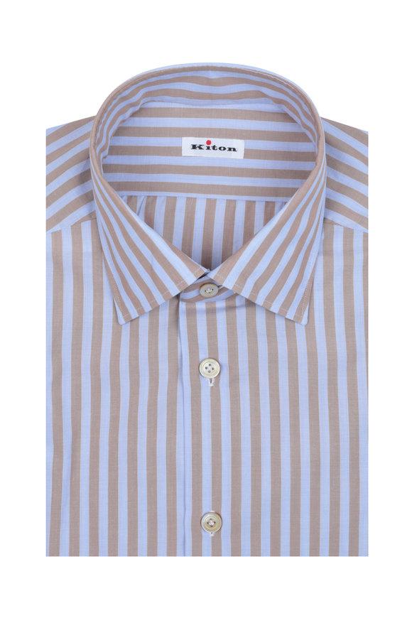 Kiton Light Brown & Lavender Striped Dress Shirt