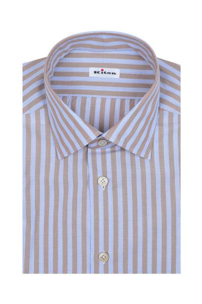 Kiton - Light Brown & Lavender Striped Dress Shirt