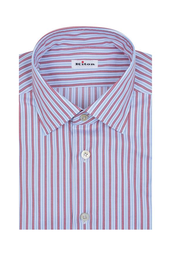 Kiton Red, Blue & White Striped Dress Shirt