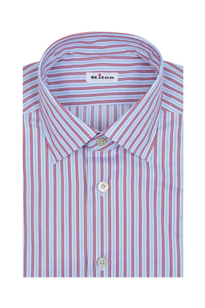 Kiton - Red, Blue & White Striped Dress Shirt