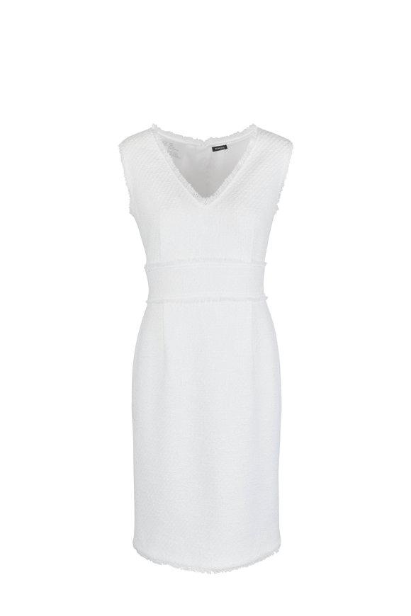 Kiton White Cotton Bouclé Fringe Shift Dress