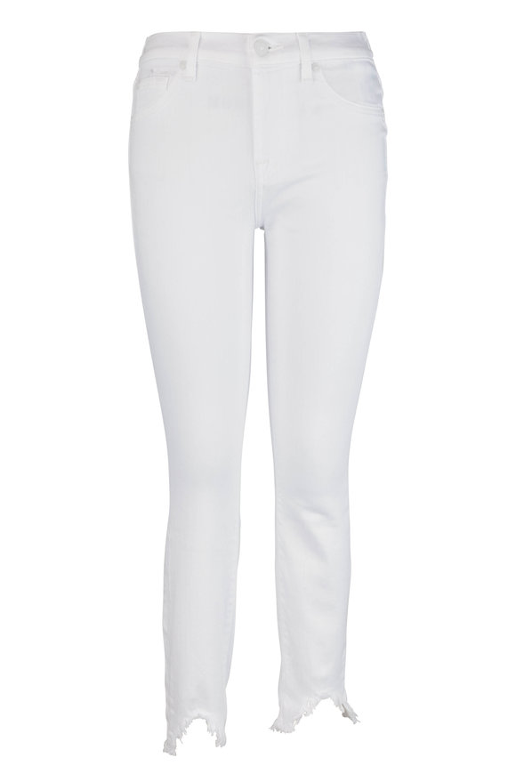 7 For All Mankind White Ankle Skinny Wave Hem Jean