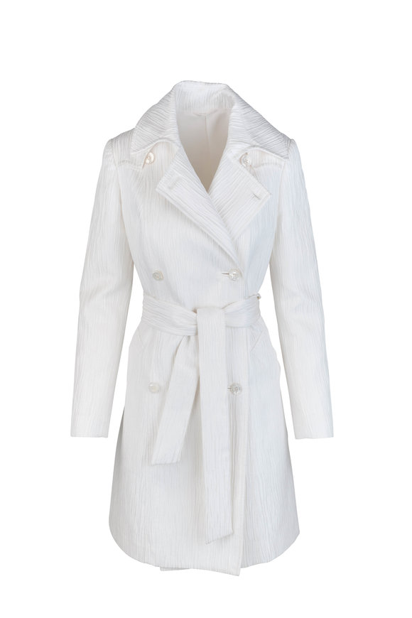 Kiton Off-White Textured Silk Blend Coat