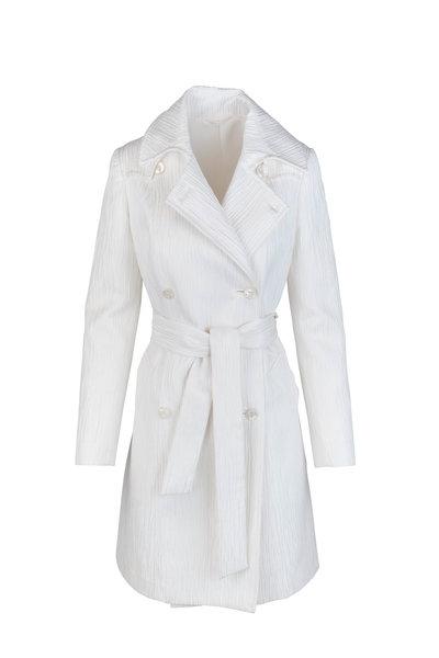 Kiton - Off-White Textured Silk Blend Coat